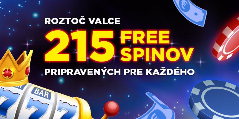 Bonusové dni, získaj až 215 voľných spinov