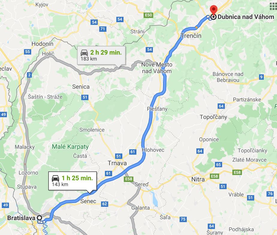 mapa z google maps Bratislava - Dubnica nad Váhom