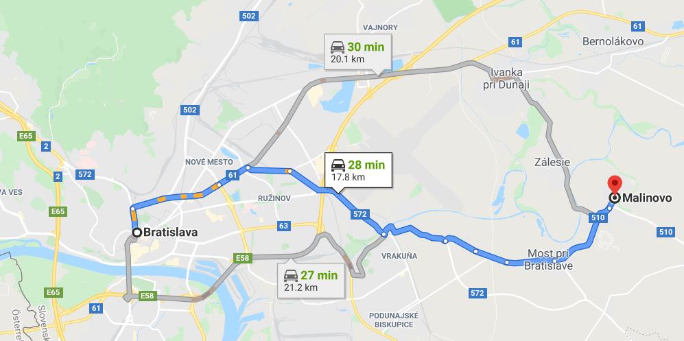 trasa BA - Malinovo