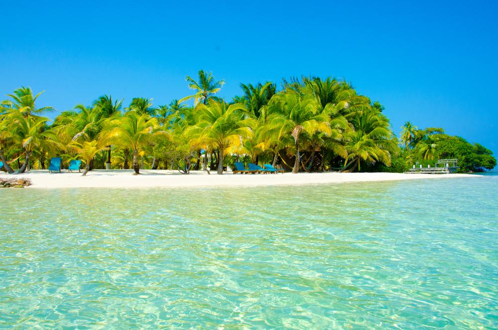 ostrov, pláž, more, palmy